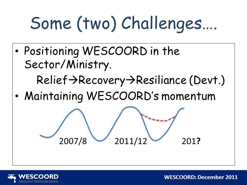 WESCOORD: December 2011 Some (two) Challenges…. Positioning WESCOORD in the Sector/Ministry. Relief  Recovery  Resiliance (Devt.) Maintaining WESCOO