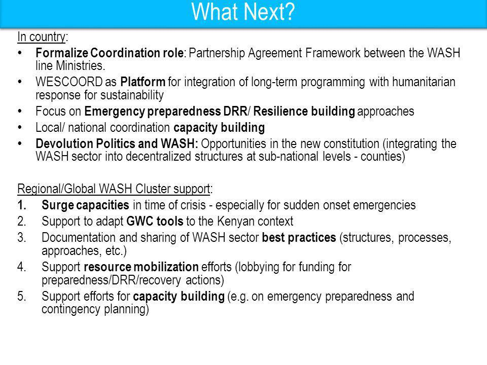 What Next? In country: Formalize Coordination role : Partnership Agreement Framework between the WASH line Ministries. WESCOORD as Platform for integr