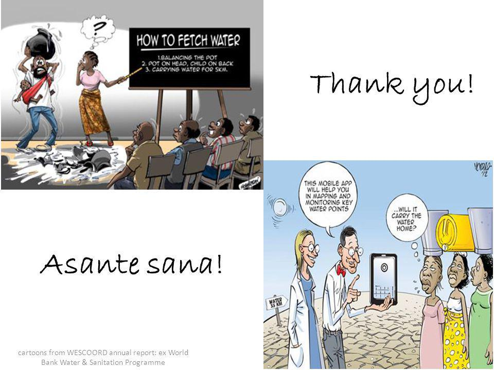 Asante sana! Thank you! cartoons from WESCOORD annual report: ex World Bank Water & Sanitation Programme