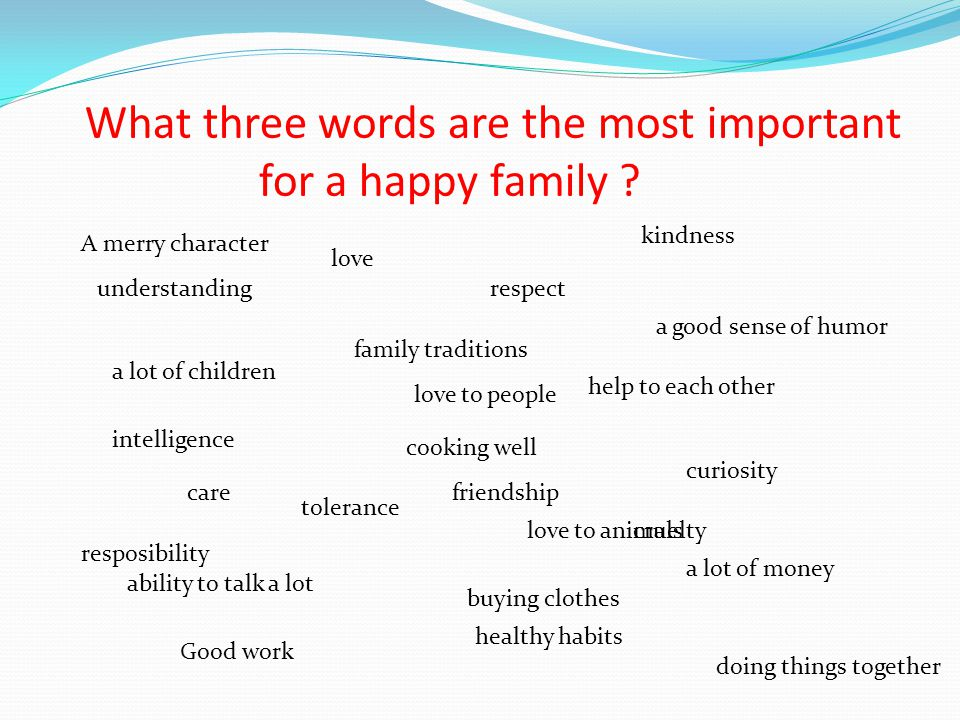 What three words are the most important for a happy family .