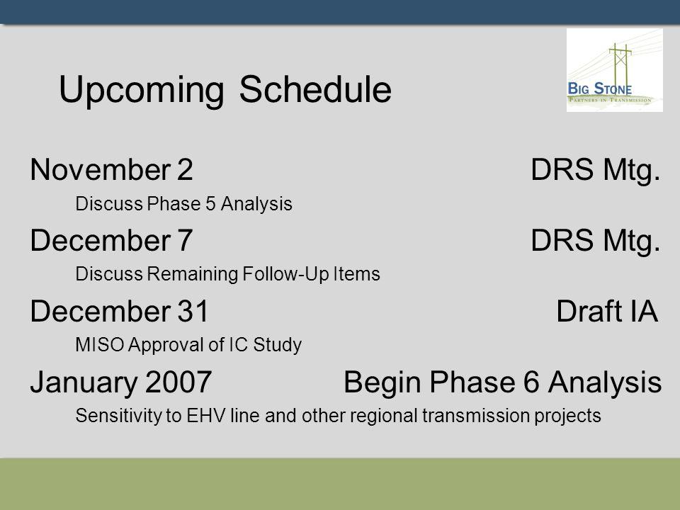 Upcoming Schedule November 2 DRS Mtg. Discuss Phase 5 Analysis December 7 DRS Mtg.