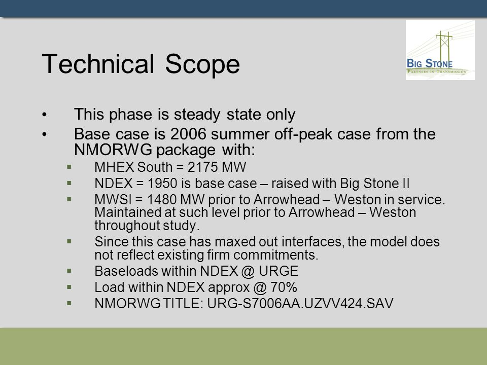 Technical Scope This phase is steady state only Base case is 2006 summer off-peak case from the NMORWG package with:  MHEX South = 2175 MW  NDEX = 1