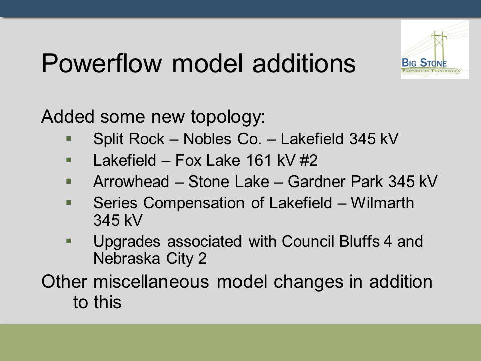 Powerflow model additions Added some new topology:  Split Rock – Nobles Co. – Lakefield 345 kV  Lakefield – Fox Lake 161 kV #2  Arrowhead – Stone L