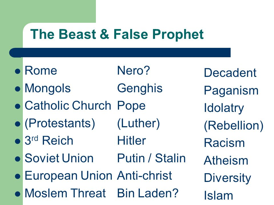 The Beast & False Prophet Rome Mongols Catholic Church (Protestants) 3 rd Reich Soviet Union European Union Moslem Threat Nero.