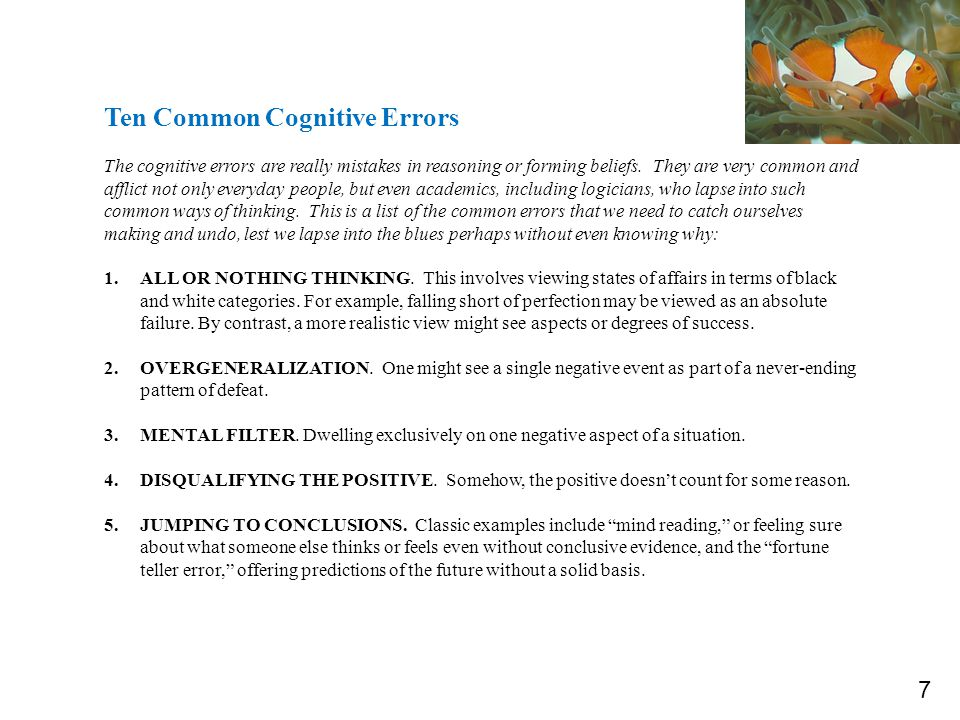Toxic Thought Cognitive Errors Substitute Thoughts 9.