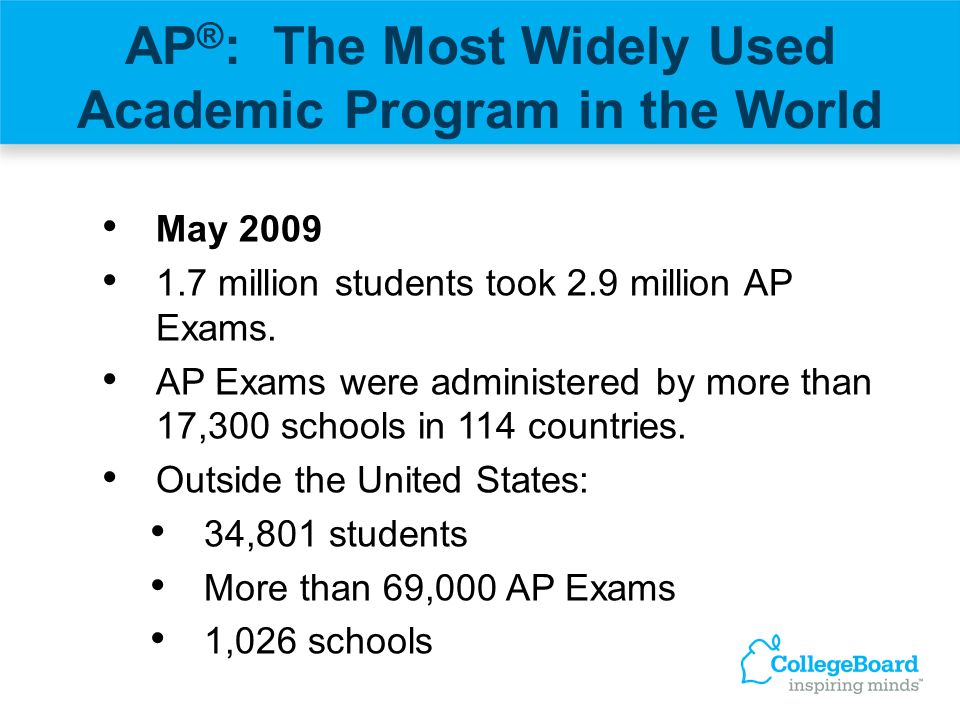 AP ® : The Most Widely Used Academic Program in the World May 2009 1.7 million students took 2.9 million AP Exams. AP Exams were administered by more