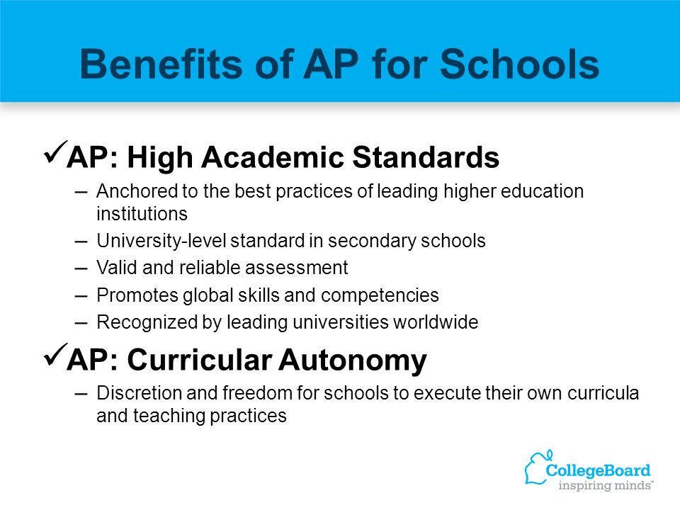 Benefits of AP for Schools AP: High Academic Standards – Anchored to the best practices of leading higher education institutions – University-level st