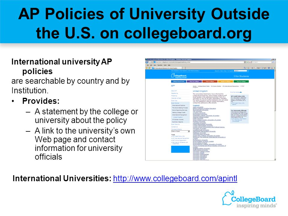 AP Policies of University Outside the U.S. on collegeboard.org International university AP policies are searchable by country and by Institution. Prov