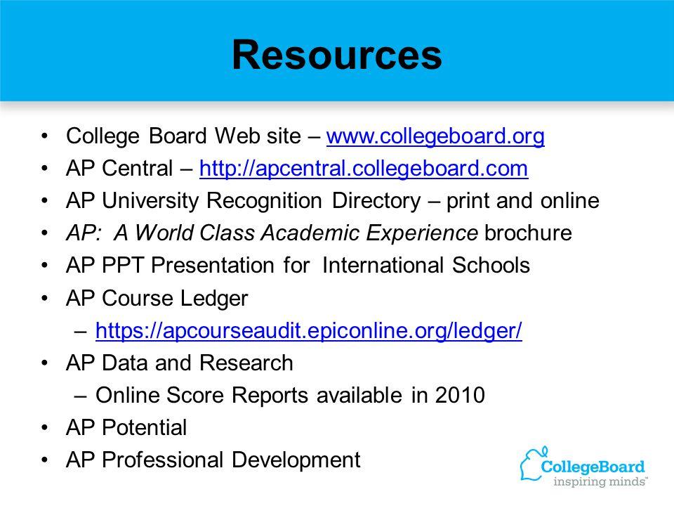 Resources College Board Web site – www.collegeboard.orgwww.collegeboard.org AP Central – http://apcentral.collegeboard.comhttp://apcentral.collegeboar
