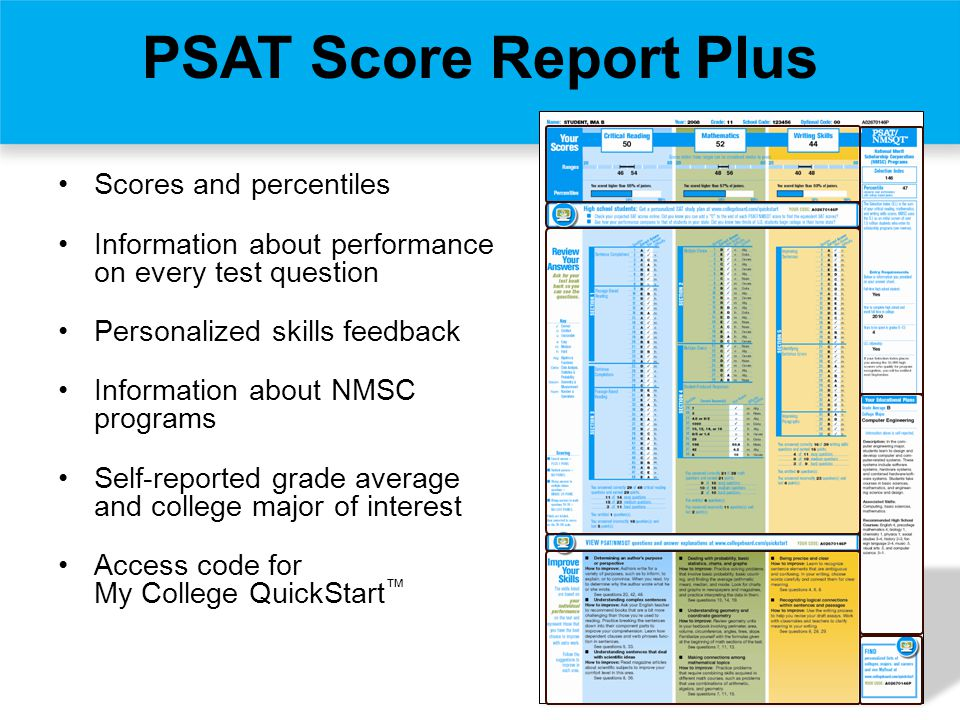 Scores and percentiles Information about performance on every test question Personalized skills feedback Information about NMSC programs Self-reported