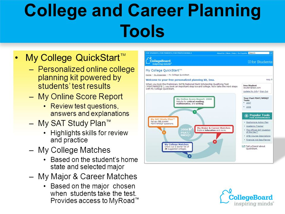 My College QuickStart ™ –Personalized online college planning kit powered by students' test results –My Online Score Report Review test questions, ans
