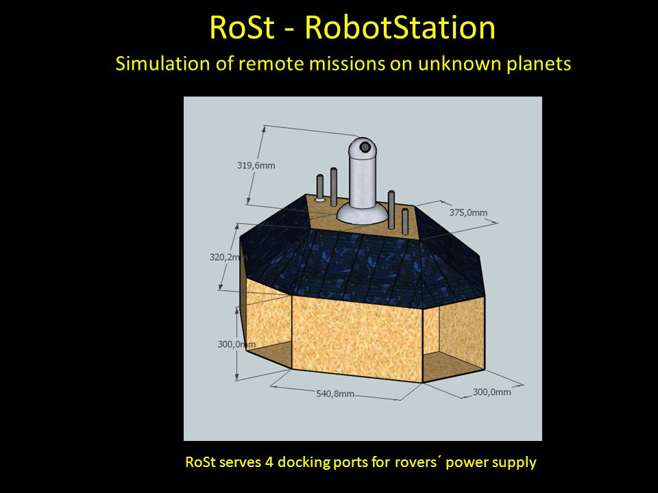 RoSt - RobotStation Simulation of remote missions on unknown planets RoSt serves 4 docking ports for rovers´ power supply