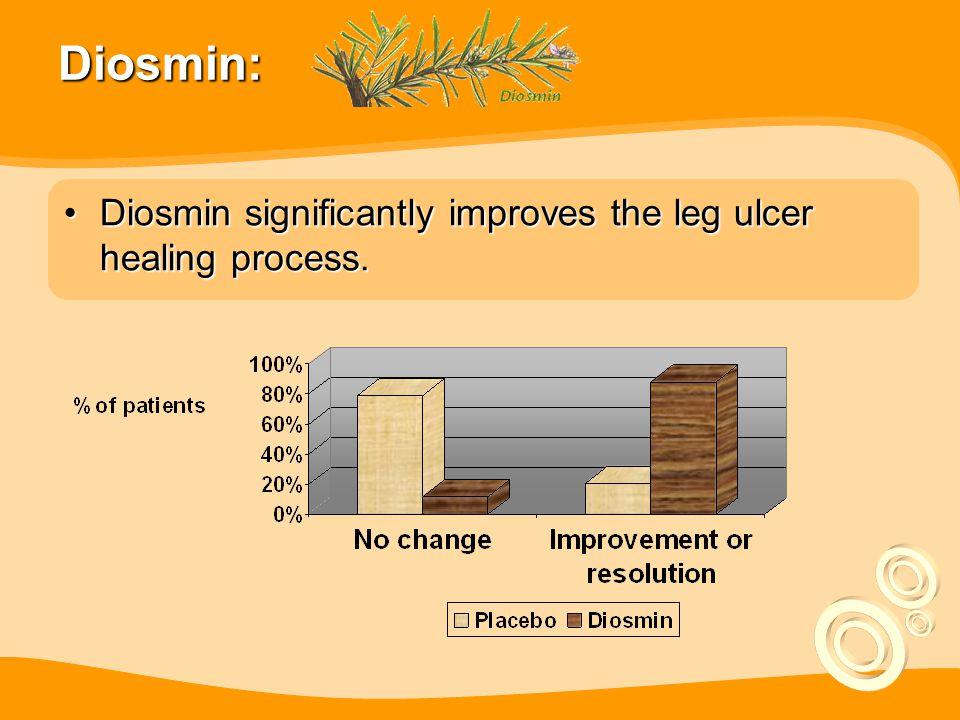 Diosmin: Diosmin significantly improves the leg ulcer healing process.Diosmin significantly improves the leg ulcer healing process.
