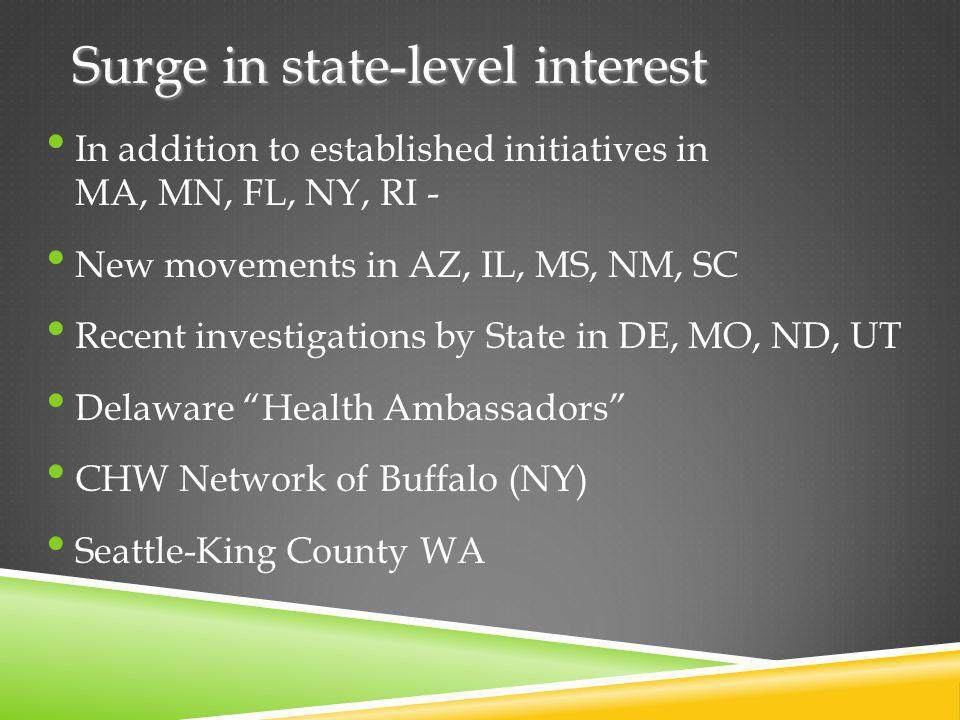 Surge in state-level interest In addition to established initiatives in MA, MN, FL, NY, RI - New movements in AZ, IL, MS, NM, SC Recent investigations