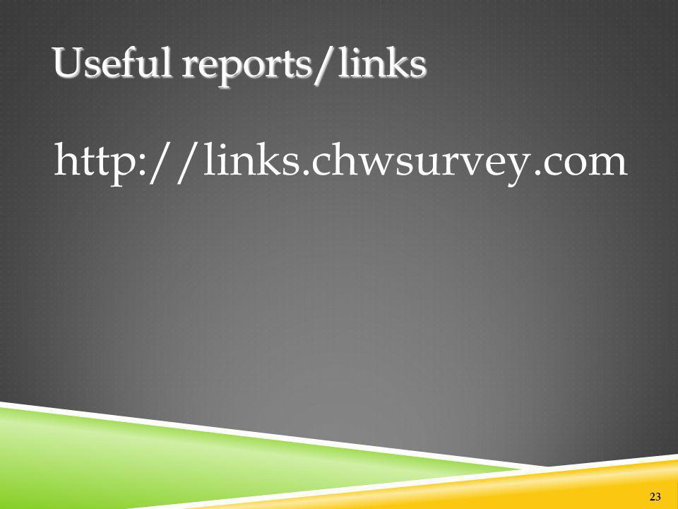 Useful reports/links http://links.chwsurvey.com 23