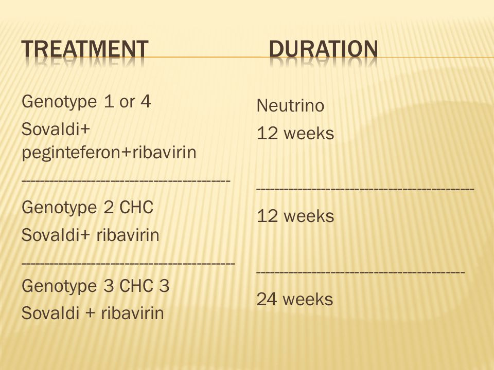 *** Sovaldi in combination with ribavirin for 24 weeks can be considered as a theraputic option for CHC patients with genotype 1 infection who are ineligible to receive an interferon-based regimen.