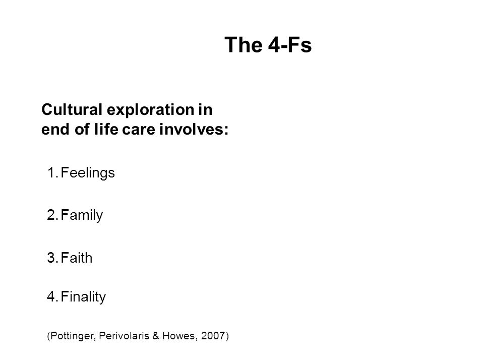 The 4-Fs Cultural exploration in end of life care involves: 1.Feelings 2.Family 3.Faith 4.Finality (Pottinger, Perivolaris & Howes, 2007) 29