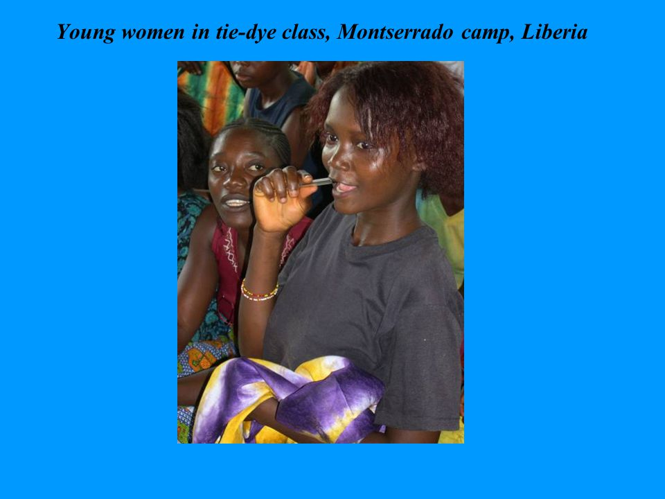 Young women in tie-dye class, Montserrado camp, Liberia