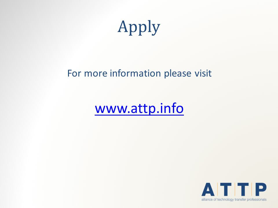 Apply For more information please visit www.attp.info
