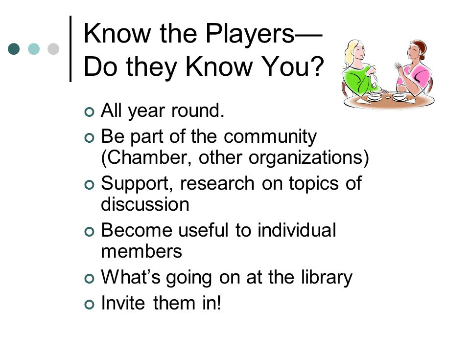Know the Players— Do they Know You. All year round.