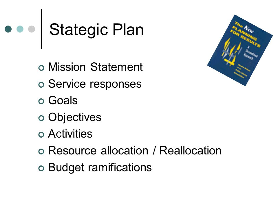 Stategic Plan Mission Statement Service responses Goals Objectives Activities Resource allocation / Reallocation Budget ramifications