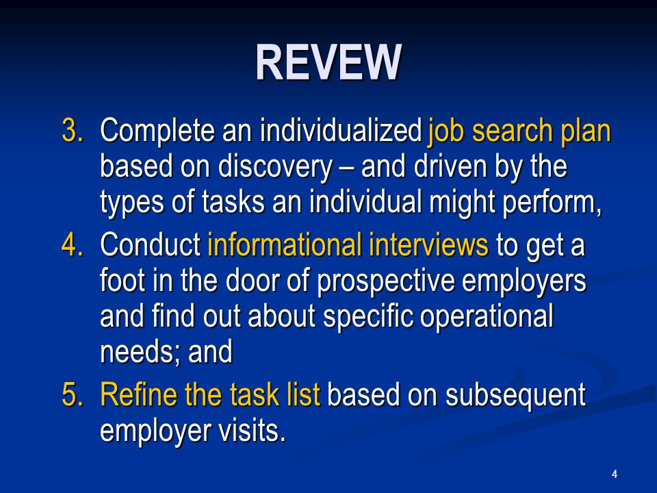 4 REVEW 3.Complete an individualized job search plan based on discovery – and driven by the types of tasks an individual might perform, 4.Conduct informational interviews to get a foot in the door of prospective employers and find out about specific operational needs; and 5.Refine the task list based on subsequent employer visits.