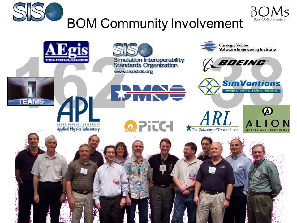 Related BOM Efforts Web-based Survey http://www.boms.info/blog http://www.boms.info websitehttp://www.boms.info –BOM Specs & Related Documents –BOM Information –BOM History –BOM Current Activities –BOM PDG Reflector –BOM FAQ BOM Tutorial Resource CDs RPR BOMs Tools –BOMworks™ –Visual OMT™ WinterSim'04 I/ITSEC '04 Conference 2005 EuroSIW Give us your Input and Thoughts.