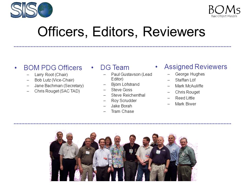 BOM PDG Officers –Larry Root (Chair) –Bob Lutz (Vice-Chair) –Jane Bachman (Secretary) –Chris Rouget (SAC TAD) DG Team –Paul Gustavson (Lead Editor) –B