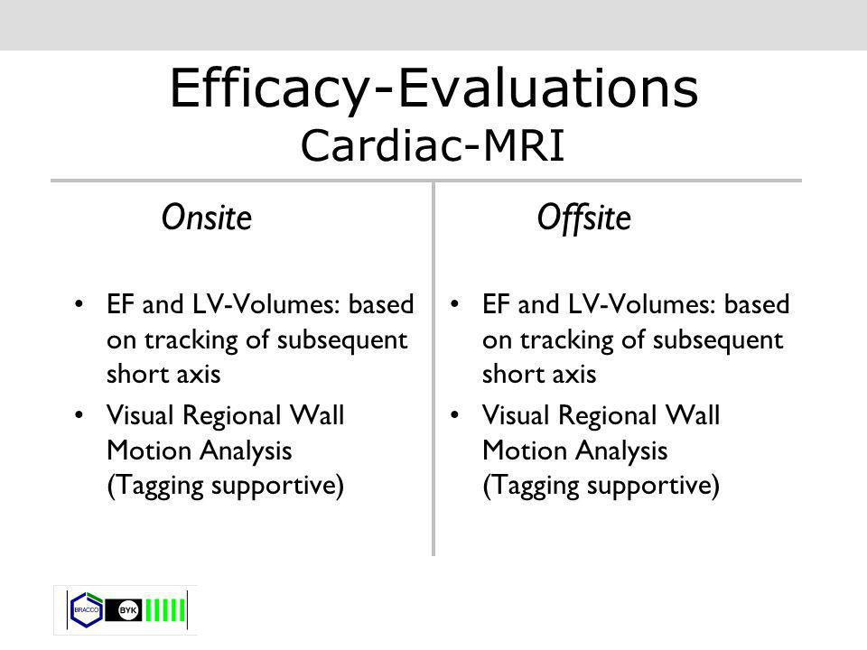 Efficacy-Evaluations Cardiac-MRI Onsite EF and LV-Volumes: based on tracking of subsequent short axis Visual Regional Wall Motion Analysis (Tagging su