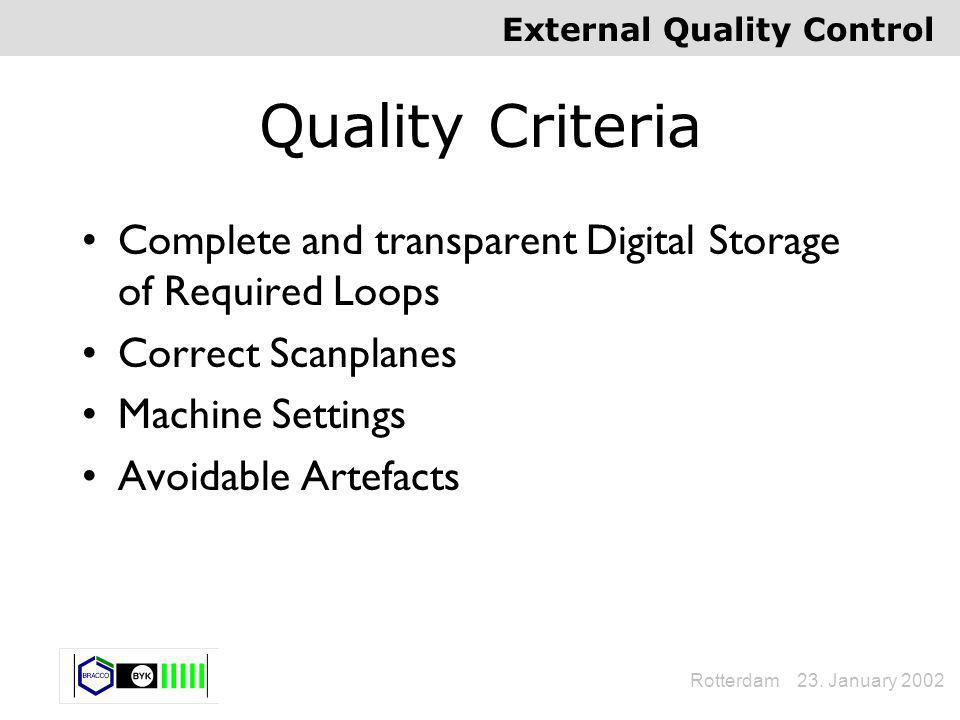 External Quality Control Rotterdam 23. January 2002 Quality Criteria Complete and transparent Digital Storage of Required Loops Correct Scanplanes Mac