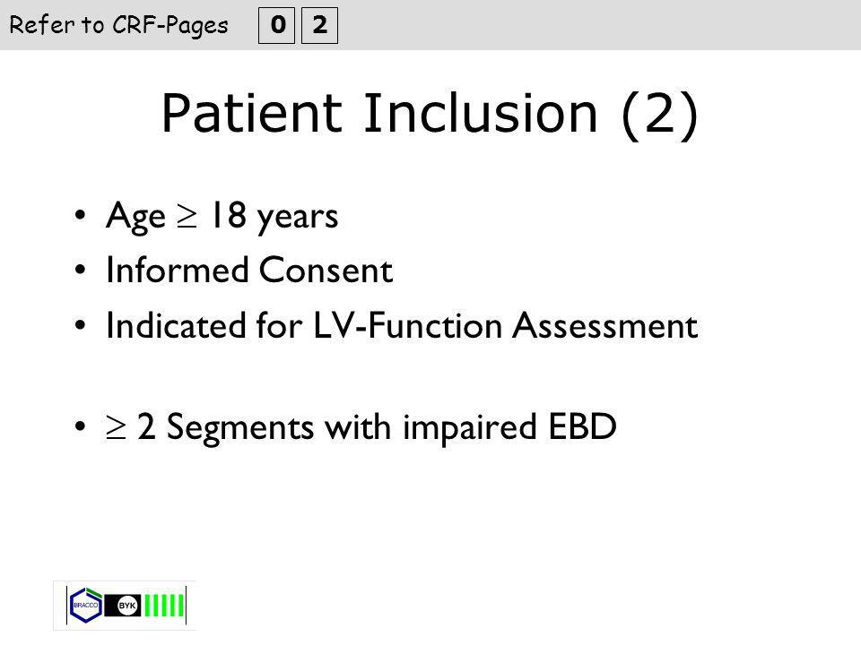 Patient Inclusion (3) Stratify to 3 different EF-Groups (based on onsite EF from cineangiocardiography) > 55 % 35- 54 % < 35 % enrol 5 patient in each EF-Category Refer to CRF-Pages 0 4