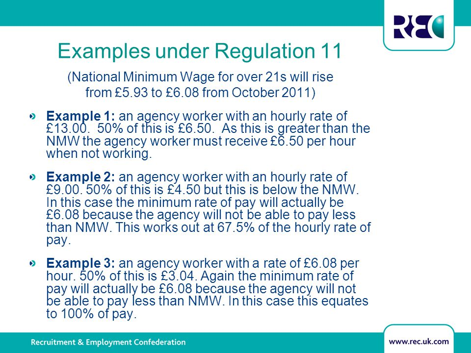 Examples under Regulation 11 (National Minimum Wage for over 21s will rise from £5.93 to £6.08 from October 2011) Example 1: an agency worker with an