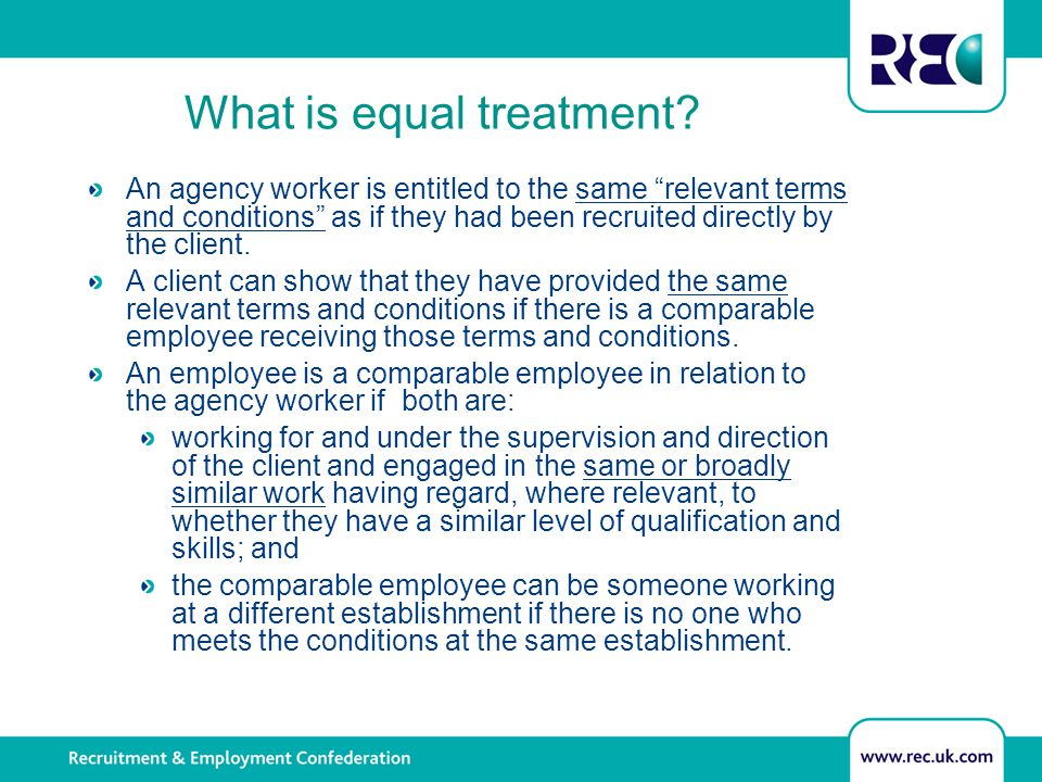 Establishing equal treatment What does it mean if there is a comparator.
