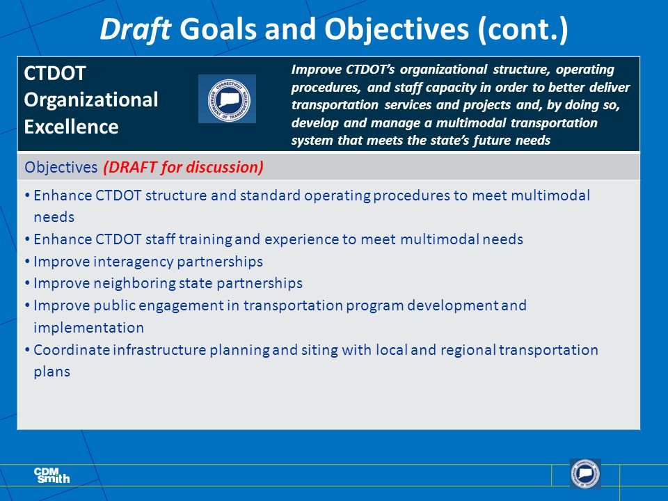 Draft Goals and Objectives (cont.) Improve CTDOT's organizational structure, operating procedures, and staff capacity in order to better deliver transportation services and projects and, by doing so, develop and manage a multimodal transportation system that meets the state's future needs Objectives (DRAFT for discussion) Enhance CTDOT structure and standard operating procedures to meet multimodal needs Enhance CTDOT staff training and experience to meet multimodal needs Improve interagency partnerships Improve neighboring state partnerships Improve public engagement in transportation program development and implementation Coordinate infrastructure planning and siting with local and regional transportation plans CTDOT Organizational Excellence