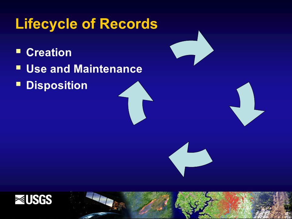 Lifecycle of Records  Creation  Use and Maintenance  Disposition