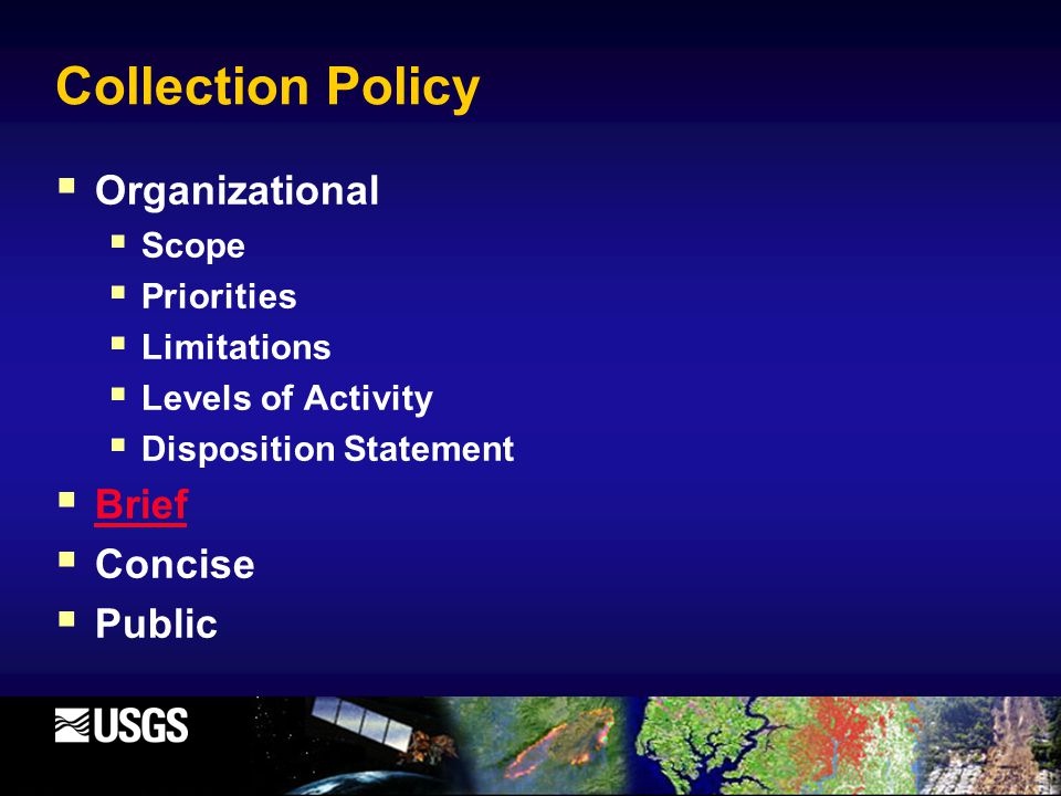 Collection Policy  Organizational  Scope  Priorities  Limitations  Levels of Activity  Disposition Statement  Brief Brief  Concise  Public