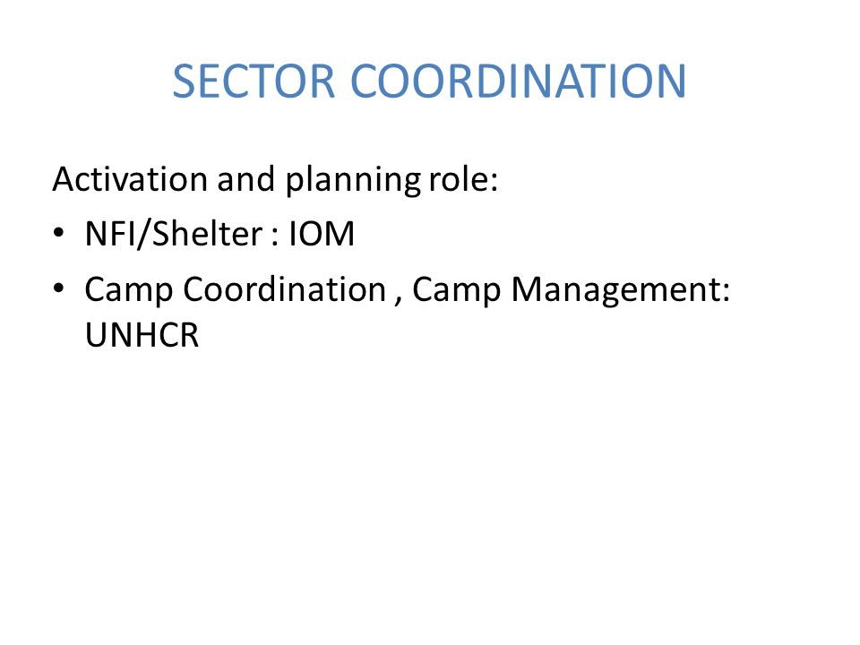 SECTOR COORDINATION Activation and planning role: NFI/Shelter : IOM Camp Coordination, Camp Management: UNHCR