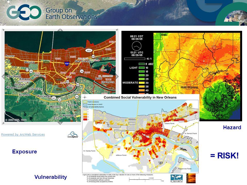 © GEO Secretariat Exposure Hazard Vulnerability = RISK!