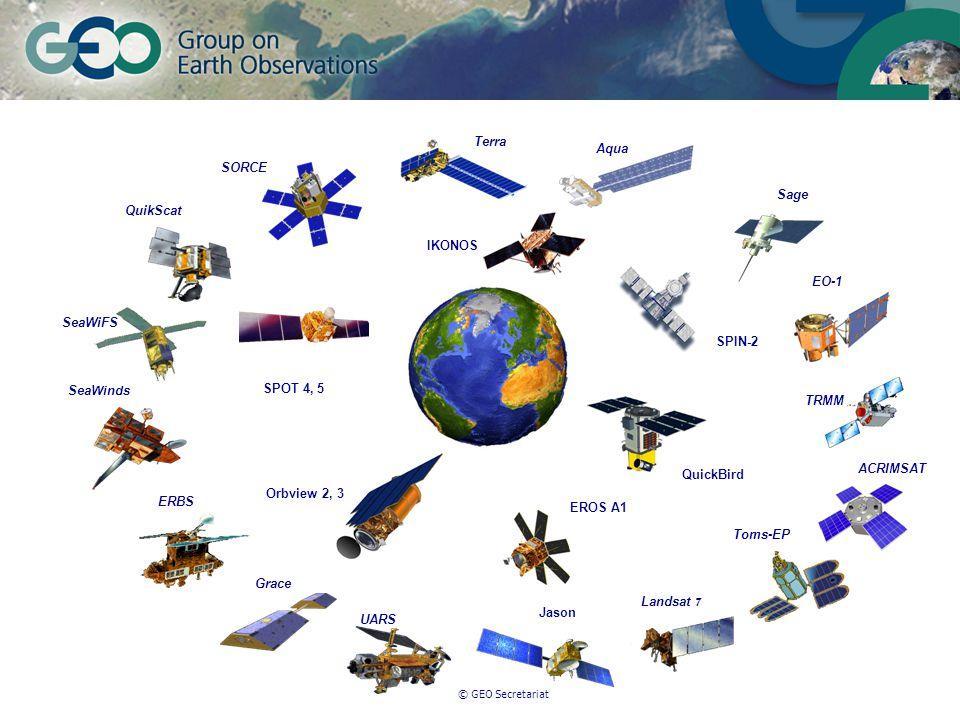 © GEO Secretariat IKONOS QuickBird SPIN-2 SPOT 4, 5 EROS A1 Terra Aqua Grace QuikScat Sage SeaWinds TRMM Toms-EP UARS Landsat 7 SORCE ACRIMSAT EO-1 SeaWiFS ERBS Jason Orbview 2, 3