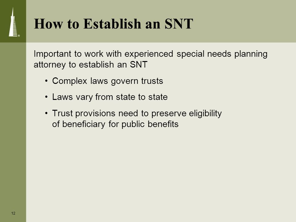 How to Establish an SNT Important to work with experienced special needs planning attorney to establish an SNT Complex laws govern trusts Laws vary from state to state Trust provisions need to preserve eligibility of beneficiary for public benefits 12