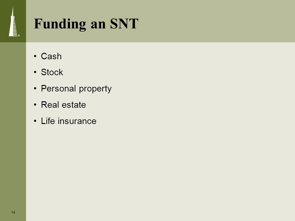 Cash Stock Personal property Real estate Life insurance 14 Funding an SNT