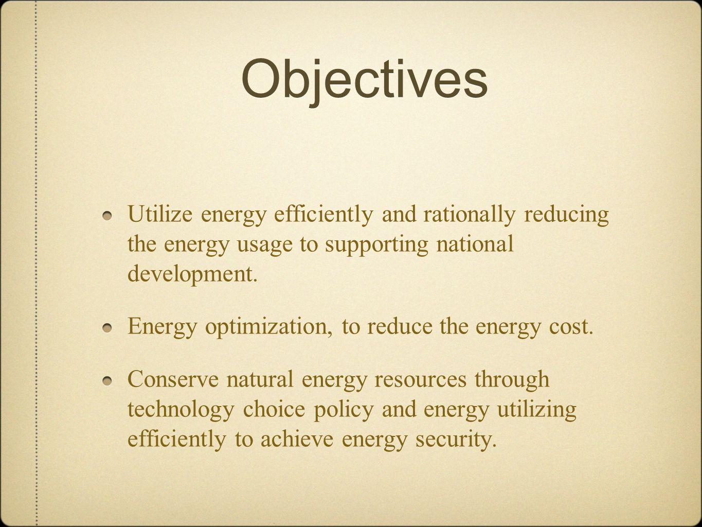 Regulation Government Regulation No.5 /2006: National Energy Policy Presidential Decree No.2 /2008: Water and Energy Saving Decree of Ministry of ESDM RI No.