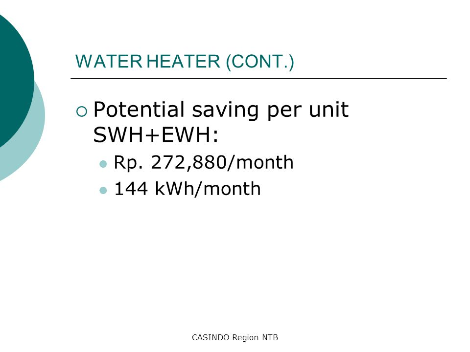 CASINDO Region NTB WATER HEATER (CONT.)  Potential saving per unit SWH+EWH: Rp. 272,880/month 144 kWh/month
