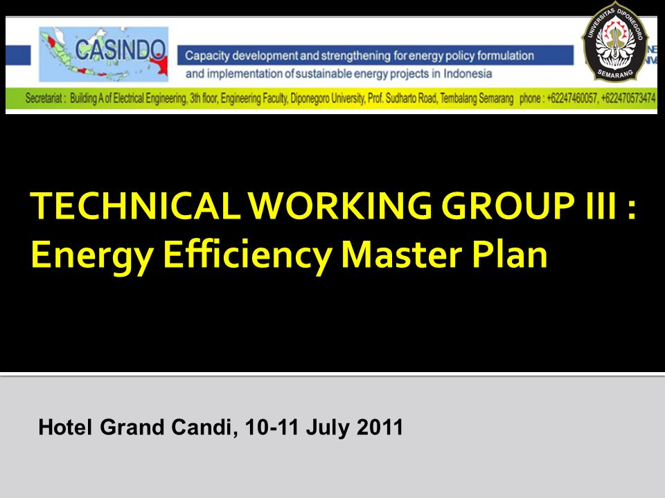 TECHNICAL WORKING GROUP III : Energy Efficiency Master Plan Hotel Grand Candi, 10-11 July 2011