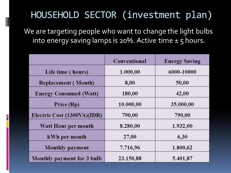 HOUSEHOLD SECTOR (investment plan) We are targeting people who want to change the light bulbs into energy saving lamps is 20%. Active time ± 5 hours.