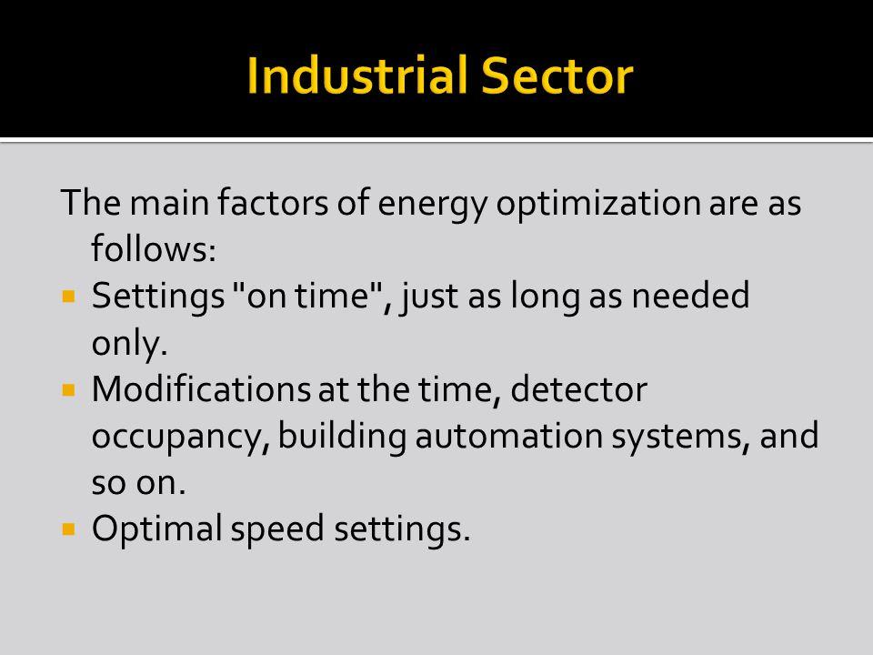 The main factors of energy optimization are as follows:  Settings
