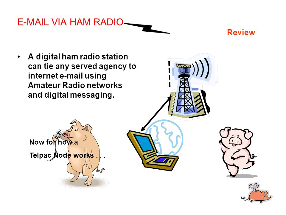 E-MAIL VIA HAM RADIO Review A digital ham radio station can tie any served agency to internet e-mail using Amateur Radio networks and digital messaging.