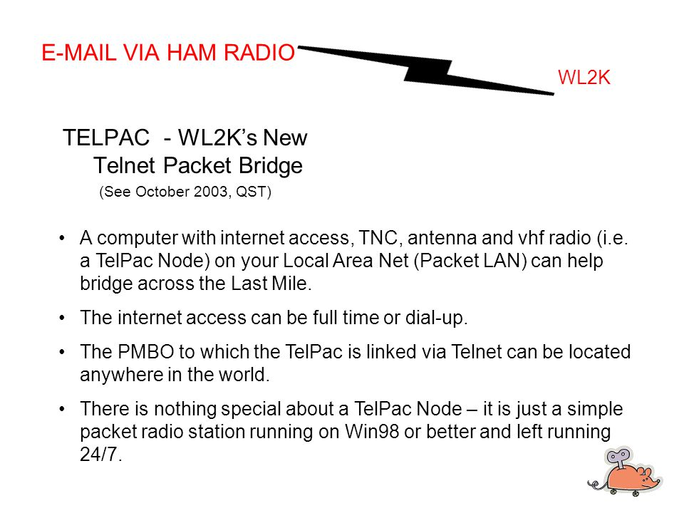 E-MAIL VIA HAM RADIO WL2K TELPAC - WL2K's New Telnet Packet Bridge (See October 2003, QST) A computer with internet access, TNC, antenna and vhf radio (i.e.