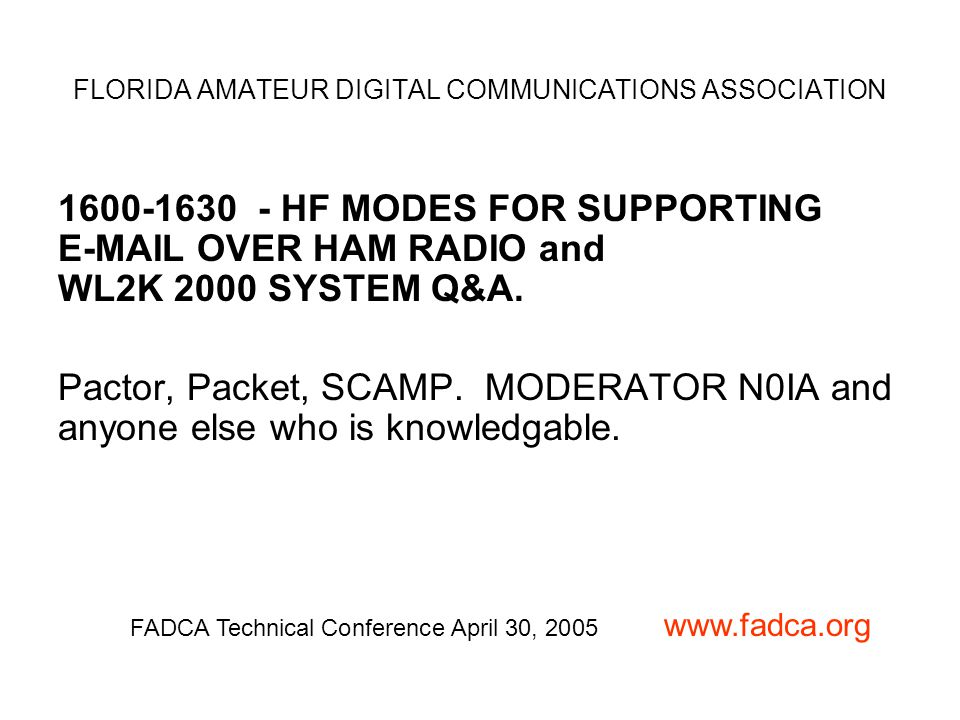 1600-1630 - HF MODES FOR SUPPORTING E-MAIL OVER HAM RADIO and WL2K 2000 SYSTEM Q&A.