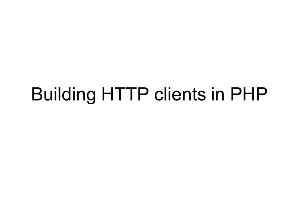 Consider this browser calling the same showRequest.php It is a PHP program at http://cosmos.ucc.ie/~jabowen/cs4408/myBrowser.php It is implemented as follows: <?php require_once HTTP/Request.php ; $req = & new HTTP_Request( http://www.cs.ucc.ie/j.bowen/cs4408/resources/showRequest.php ); if (!PEAR::isError($req->sendRequest())) { $contents= $req->getResponseBody(); echo $contents; } ?>